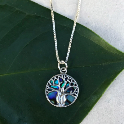 Women's Peace Collection Tree of Life Abalone Sterling Necklace