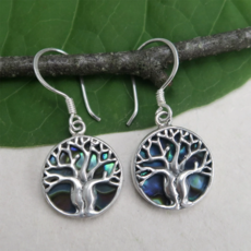 Women's Peace Collection Tree of Life Abalone Sterling Earrings