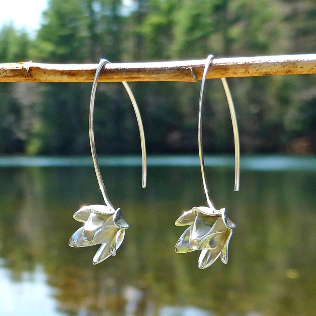 Women's Peace Collection Lotus Blossom Sterling Silver Earrings