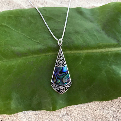Women's Peace Collection Abalone Filigree Sterling Necklace