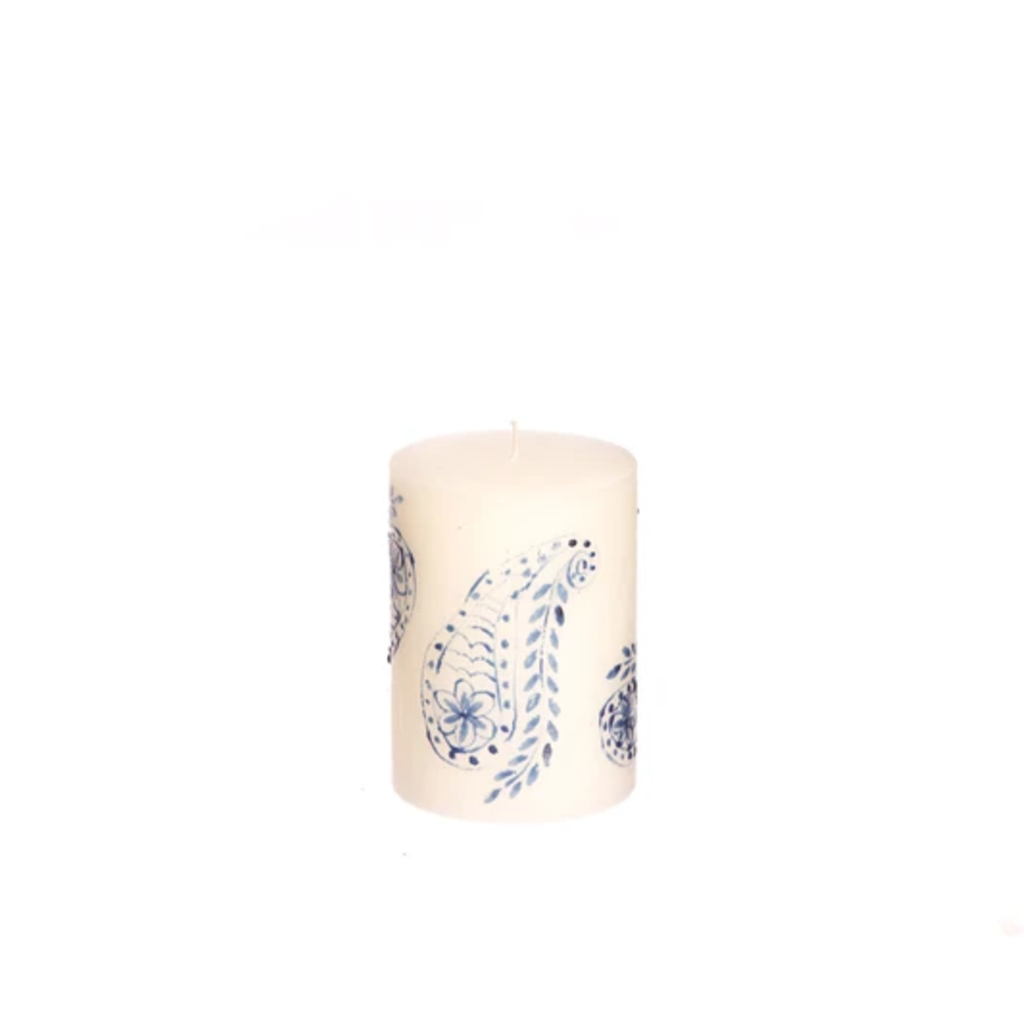 Thumbprint Artifacts Henna Blue on White Pillar Candle 3x4