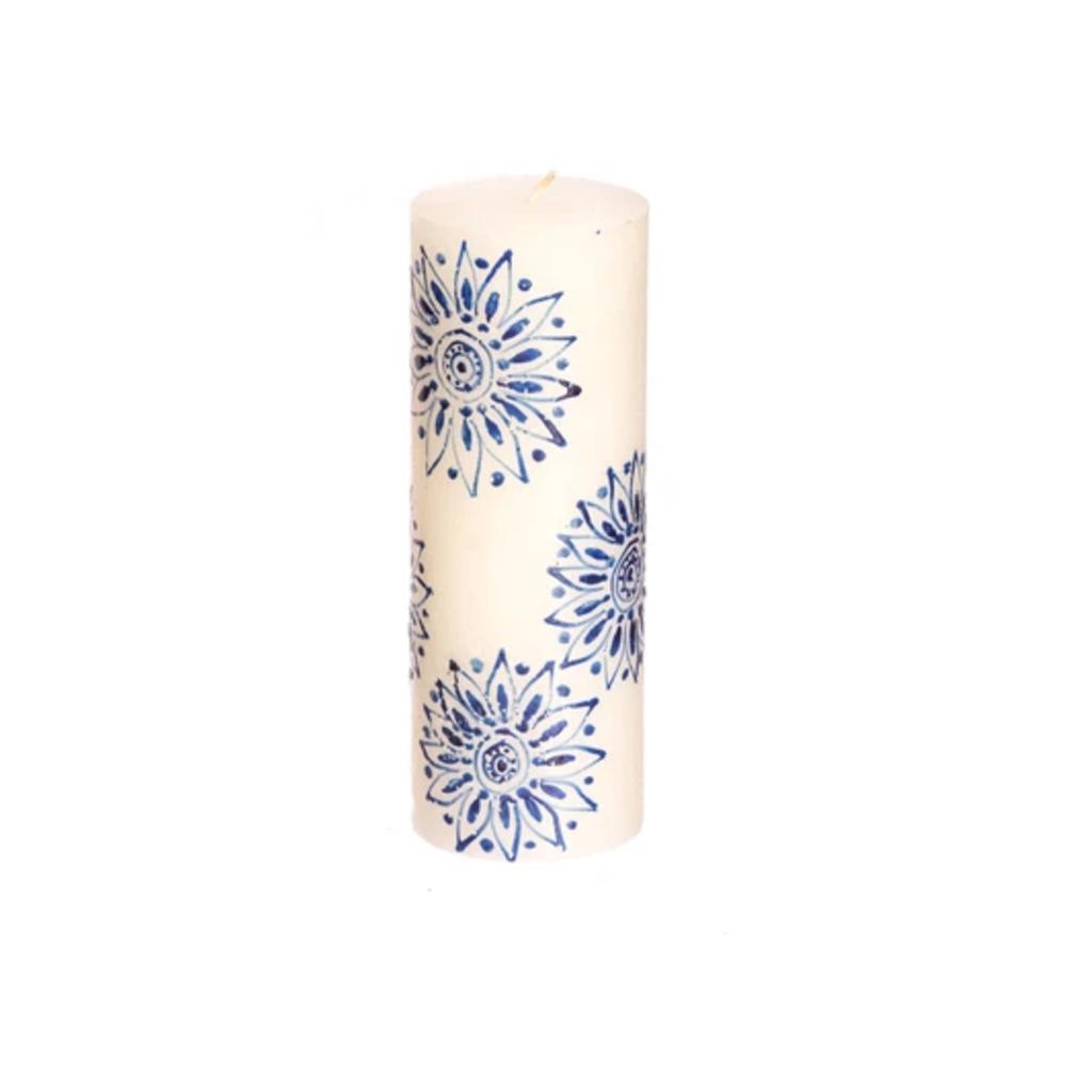 Thumbprint Artifacts Henna Blue on White Pillar Candle 3x8