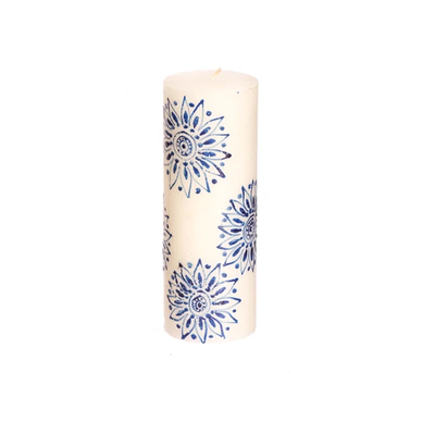 Thumbprint Artifacts Henna Blue on White Pillar Candle 3x8