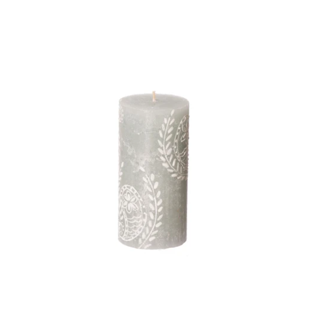 Thumbprint Artifacts Henna Duck Egg Pillar Candle 3x6