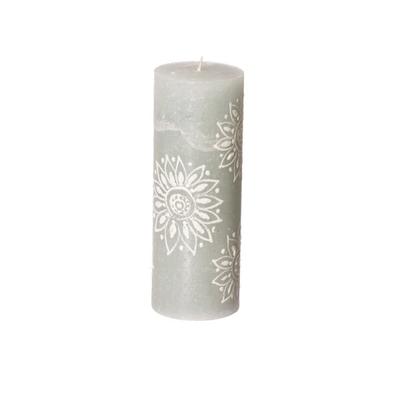 Thumbprint Artifacts Henna Duck Egg Pillar Candle 3x8