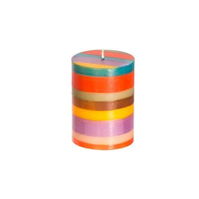 Thumbprint Artifacts Memphis Stripe Pillar Candle 3x4