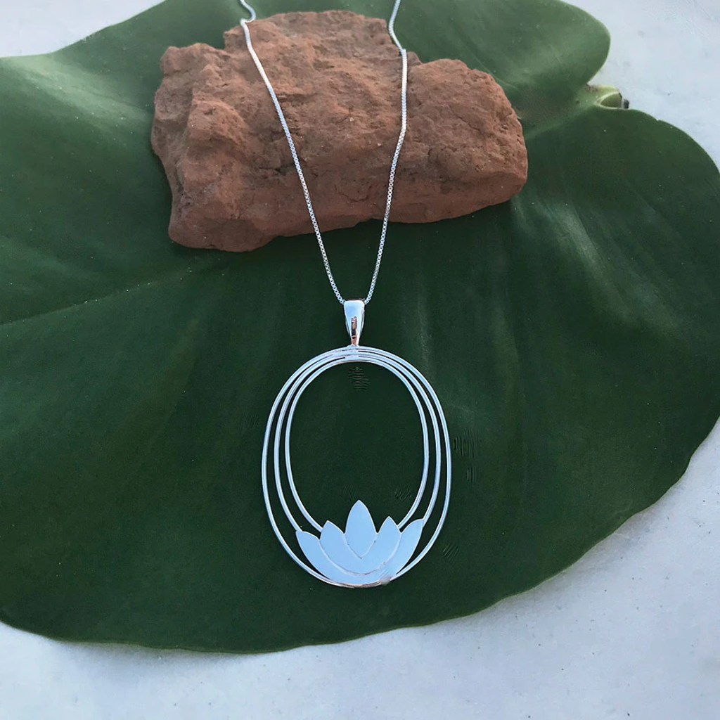 Women's Peace Collection Lotus Sterling Silver Necklace