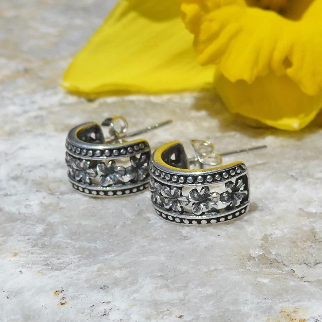 Women's Peace Collection Petite Fleur Sterling Silver Earrings