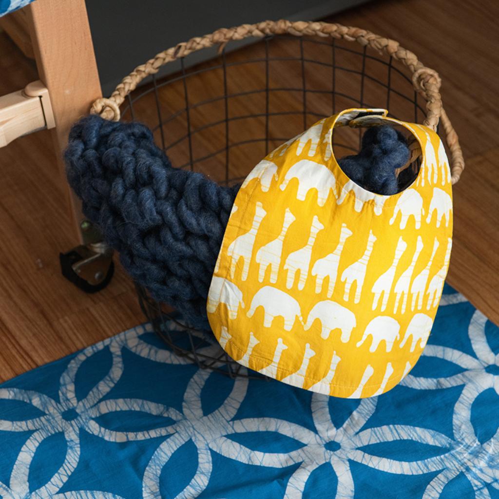 Global Mamas Organic Cotton Batik Bib: Mustard Sahara