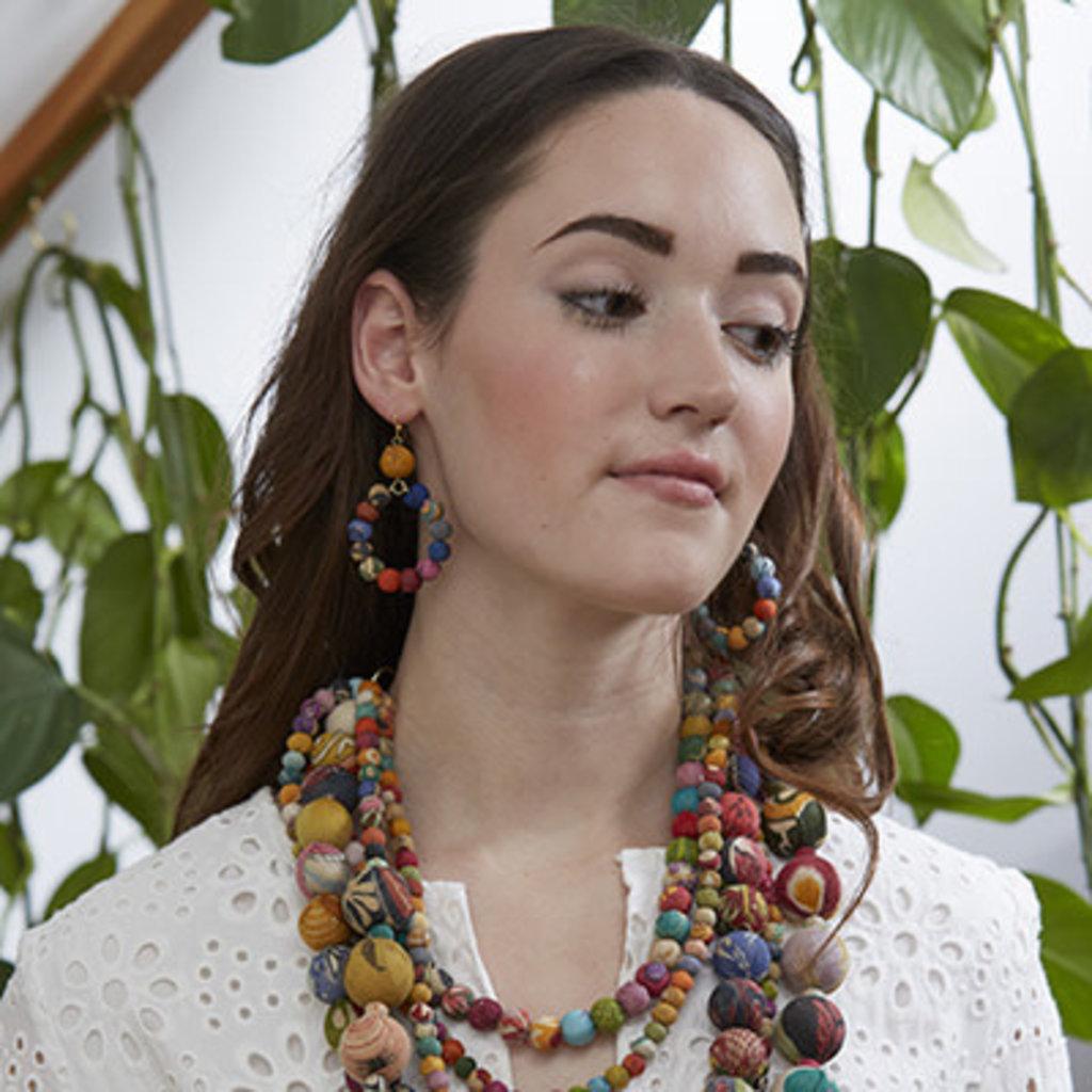 World Finds Multicolor Kantha Dangling Hoop Earrings