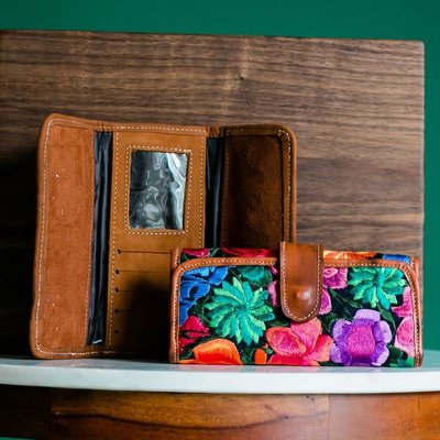 Lucia's Imports Floral Leather Wallet