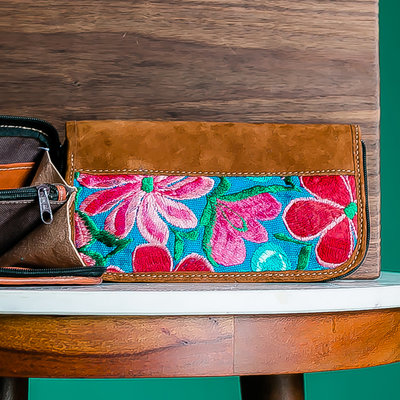 Lucia's Imports Floral Leather Wristlet