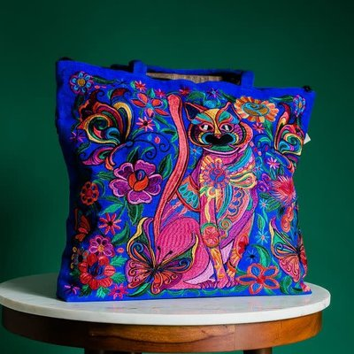 Lucia's Imports Embroidered Cat Tote Bag