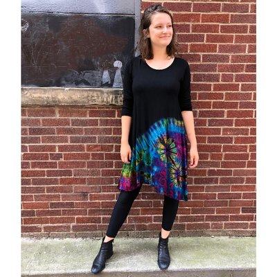Unique Batik Long Sleeve Asymmetric Tie Dye Dress