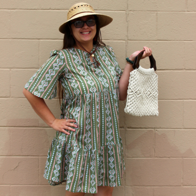 Mata Traders Adelaide Tiered Mini Dress Clover