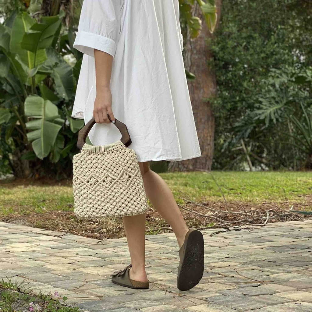 Global Crafts Macrame Bag with Arched Wood Handle