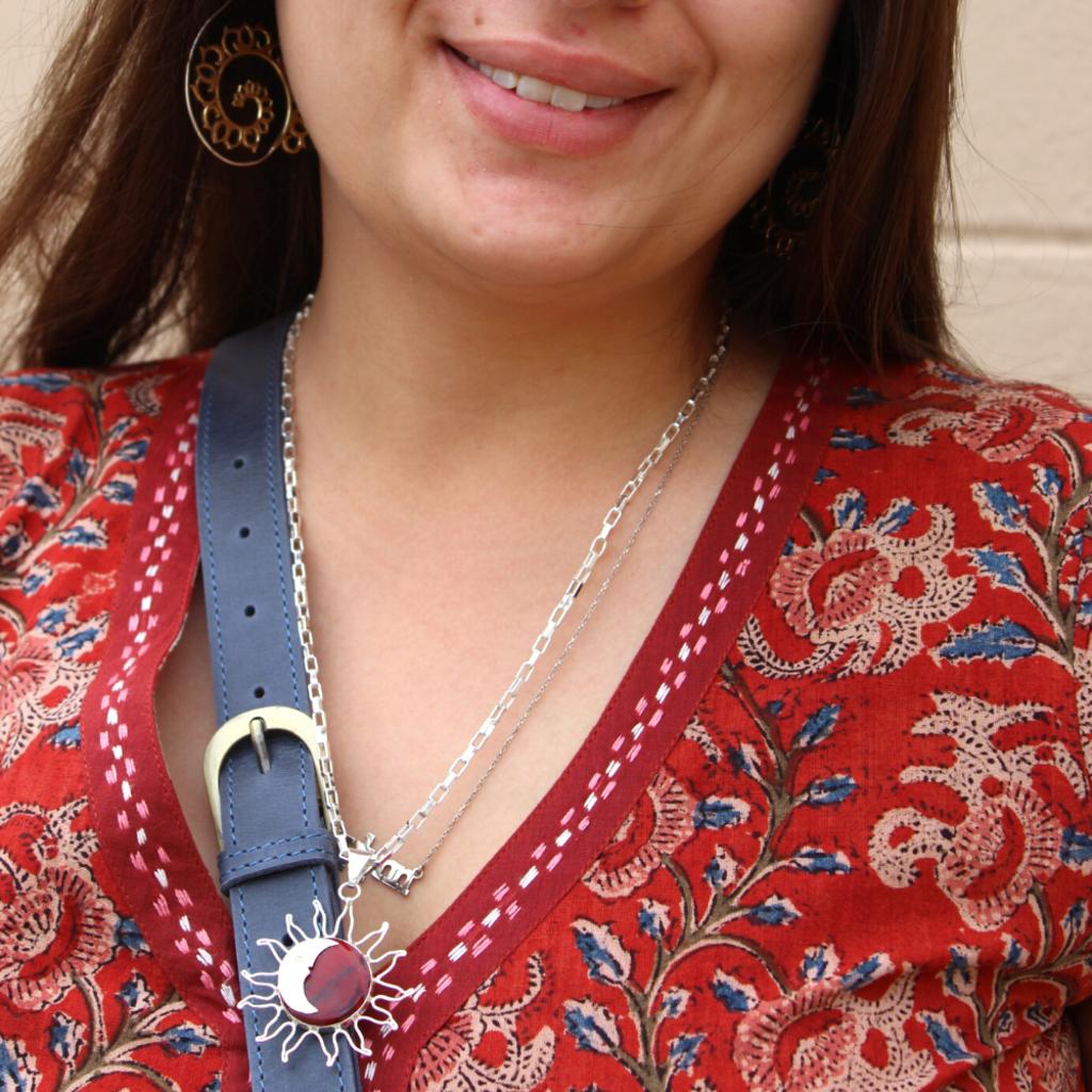 Global Crafts Sun & Moon Red Jasper Pendant Necklace