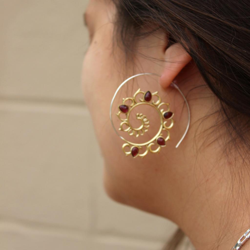 DZI Handmade Fiery Lotus Spiral Earrings