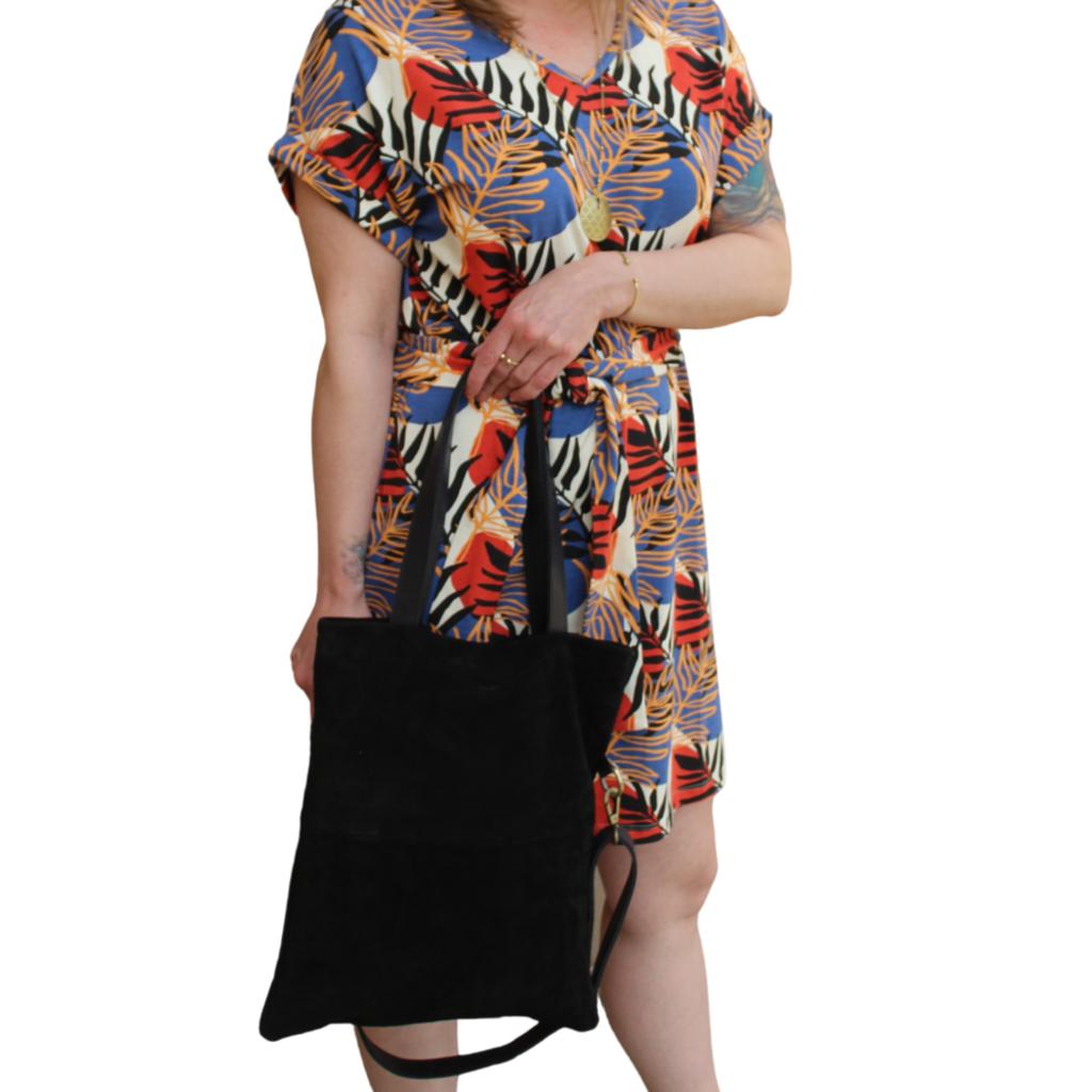 Mata Traders Montrose Tie Dress Layered Palms Peach