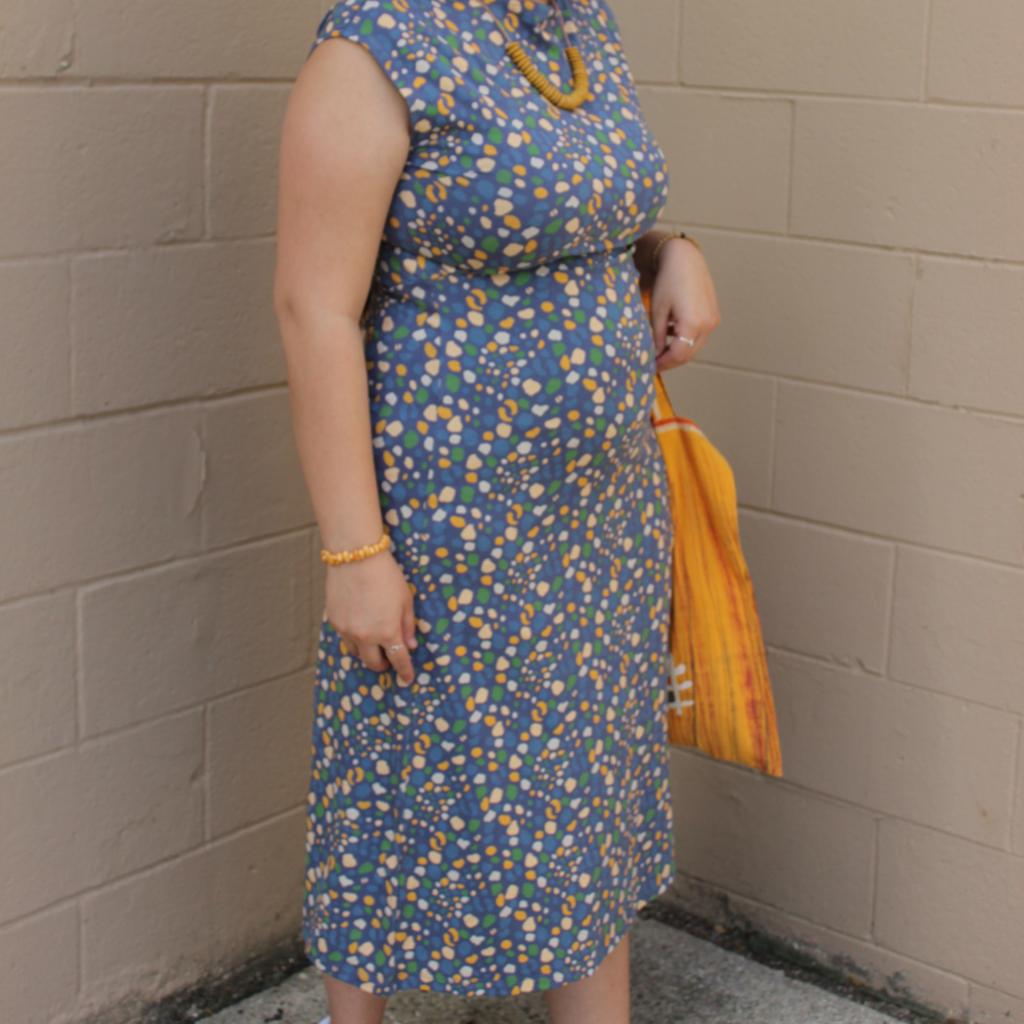 Mata Traders Elise Sheath Dress Blue Dots
