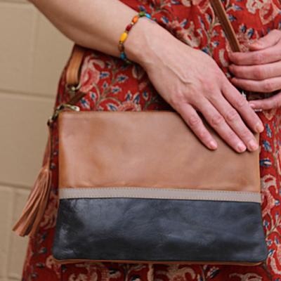 Serrv Tan Colorblock Leather Crossbody Bag