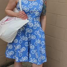 Global Mamas Blue Bikes Ava Dress Organic Cotton