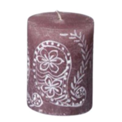 Thumbprint Artifacts Henna Brown Pillar Candle 3x4