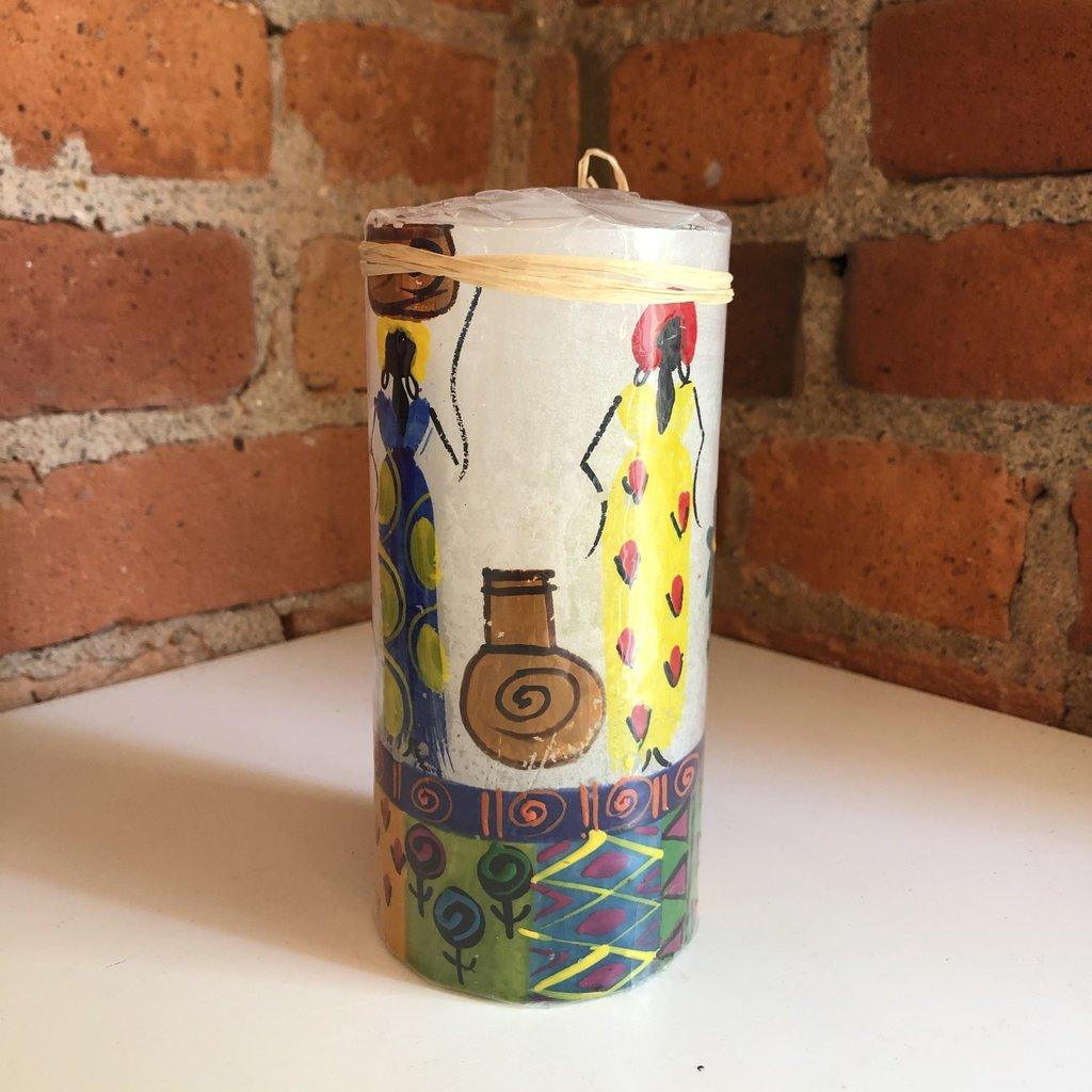 Thumbprint Artifacts African Ladies Pillar Candle 3x6