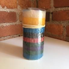 Thumbprint Artifacts Memphis Stripe Pillar Candle 3x6