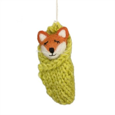 DZI Handmade Cozy Fox Felted Wool Ornament
