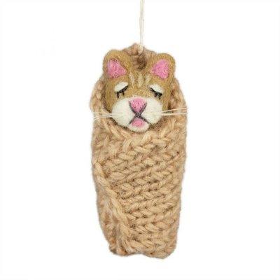 DZI Handmade Cozy Kitty Felted Wool Ornament