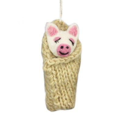 DZI Handmade Cozy Piglet Felted Wool Ornament