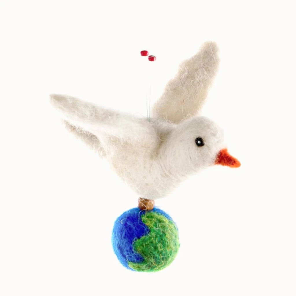 Mayan Hands Dove of Peace Felted Wool Ornament