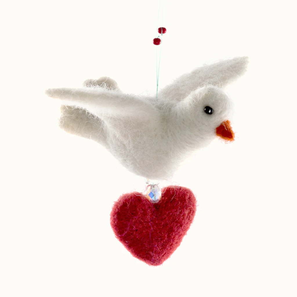 Mayan Hands Dove with Heart Felted Wool Ornament
