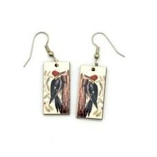 Dunitz & Co Redhead Woodpecker Vintage Dangle Earrings