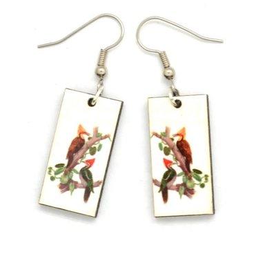 Dunitz & Co Two Woodpeckers Vintage Dangle Earrings