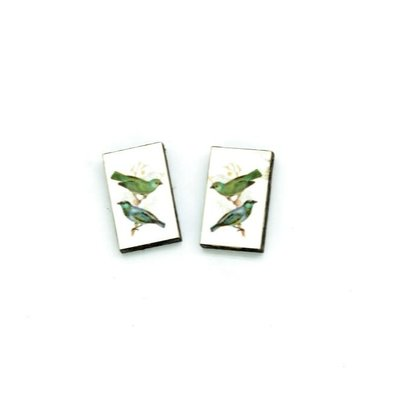Dunitz & Co Green Bird Vintage Stud Earrings