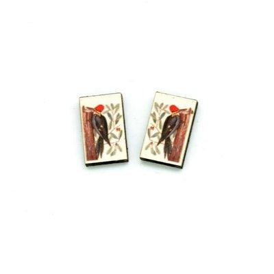 Dunitz & Co Redhead Woodpecker Vintage Stud Earrings