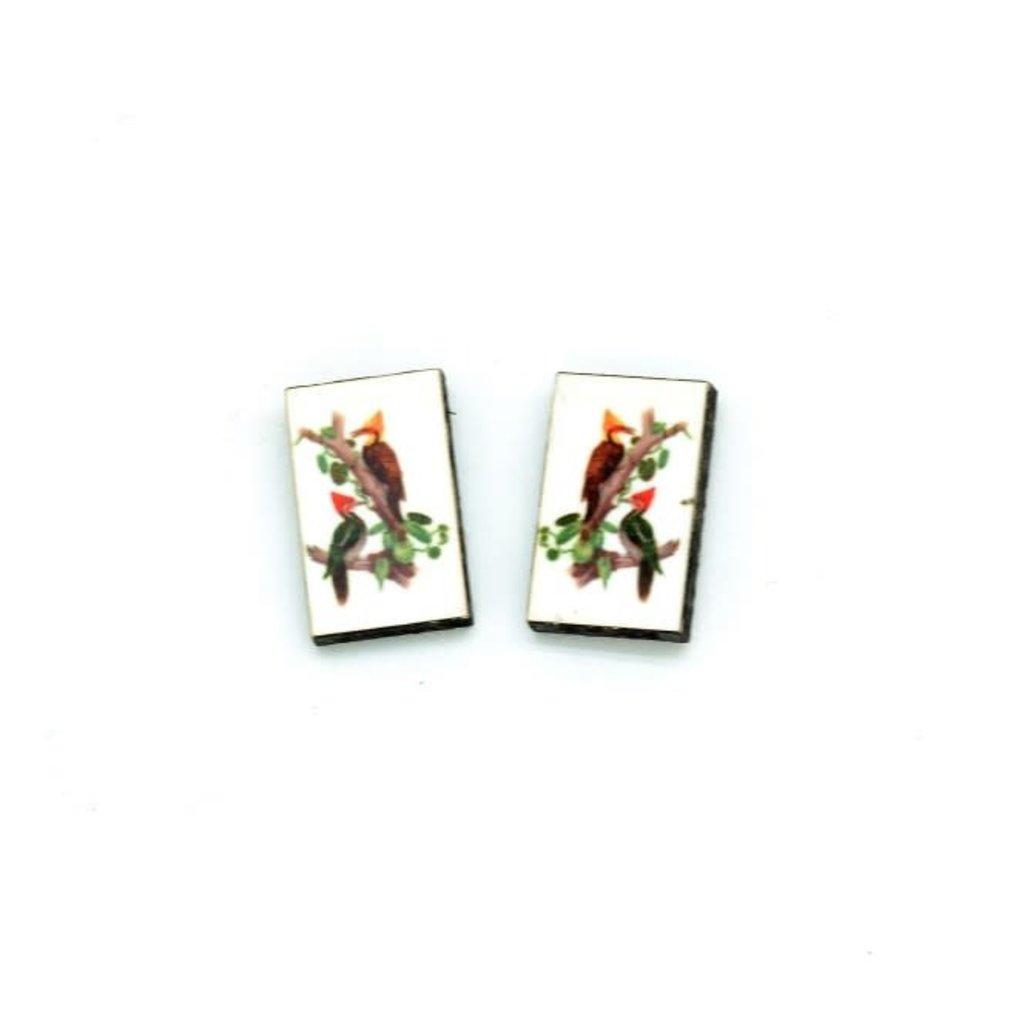 Dunitz & Co Two Woodpecker Vintage Stud Earrings