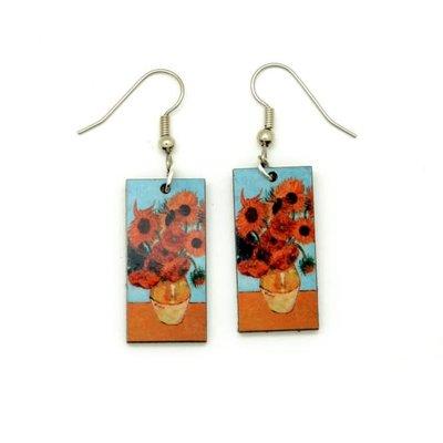 Dunitz & Co Vase of Sunflowers Art Dangle Earrings