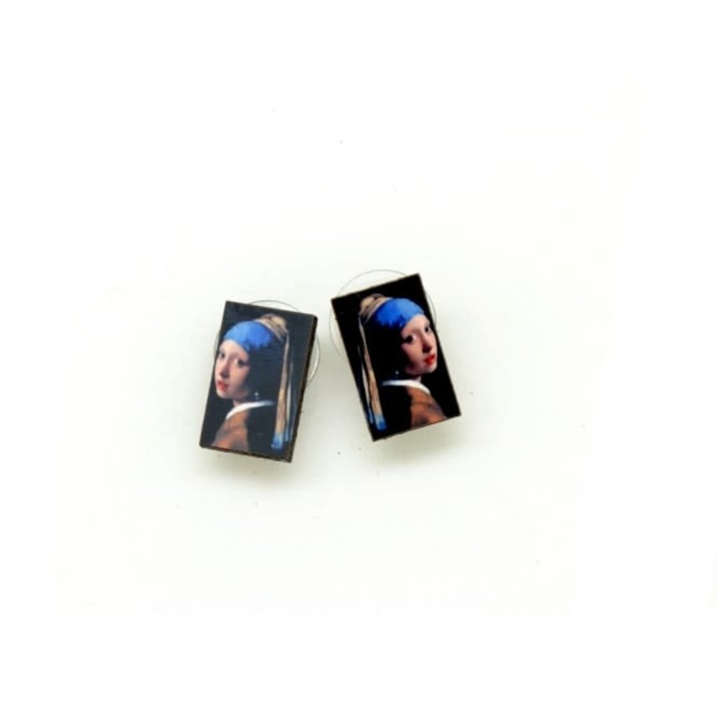 Dunitz & Co Girl With Pearl Earrings Art Stud Earrings