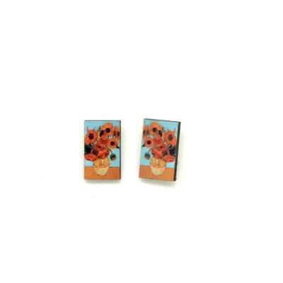 Dunitz & Co Vase of Sunflowers Art Stud Earrings