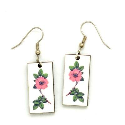 Dunitz & Co Pink Flower Botanical Dangle Earrings