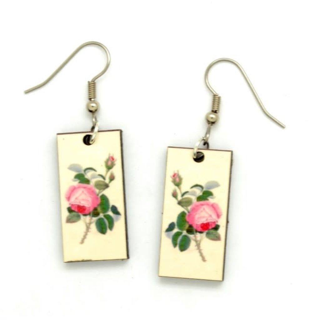 Dunitz & Co Pink Rose Botanical Dangle Earrings