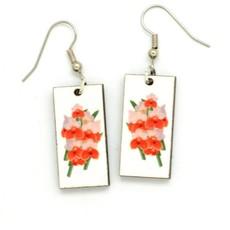 Dunitz & Co Red Orchid  Botanical Dangle Earrings