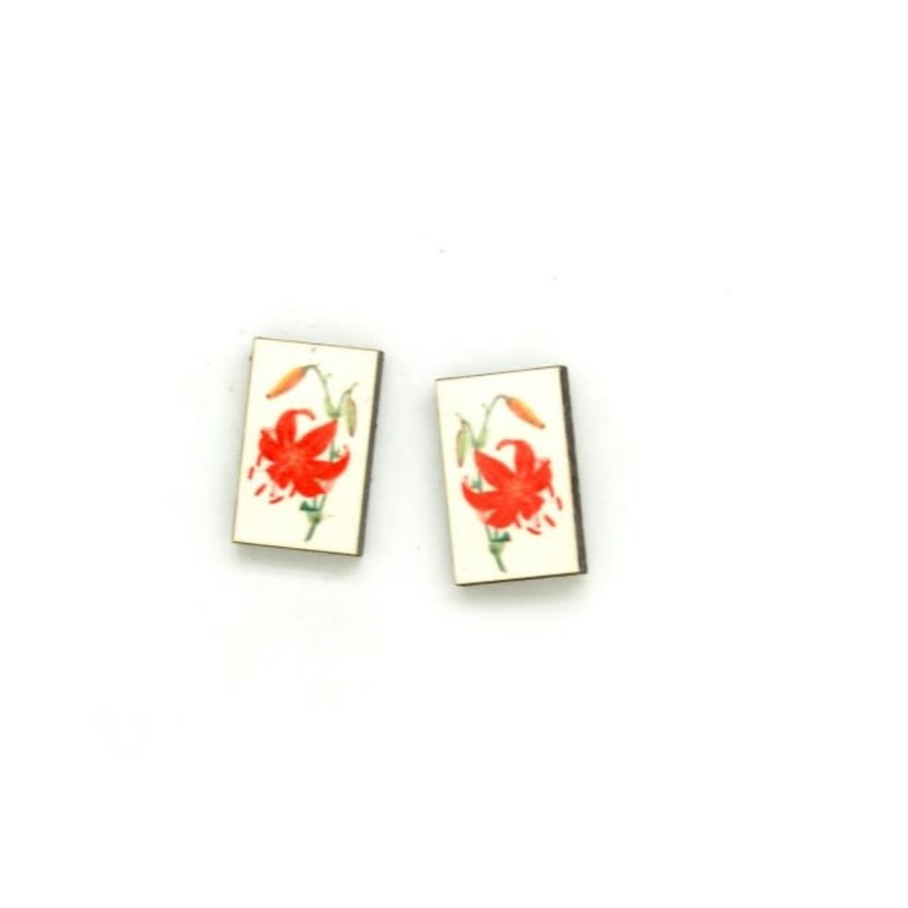 Dunitz & Co Orange Lily Botanical Stud Earrings