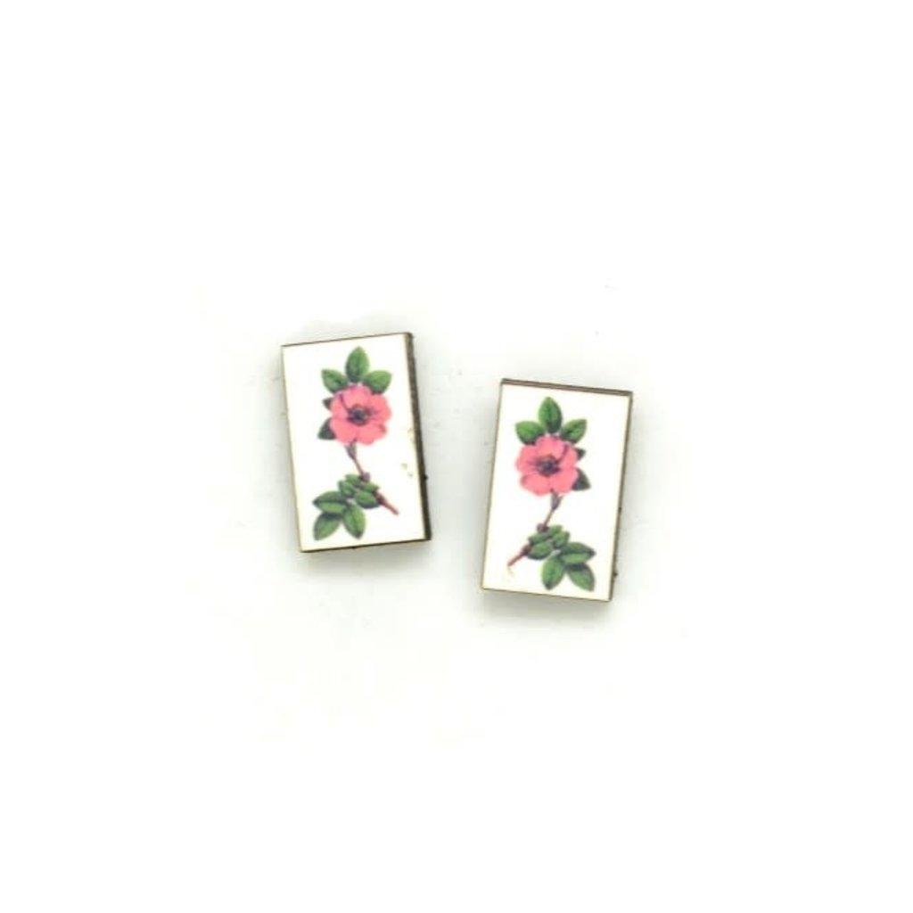 Dunitz & Co Pink Flower Botanical Stud Earrings