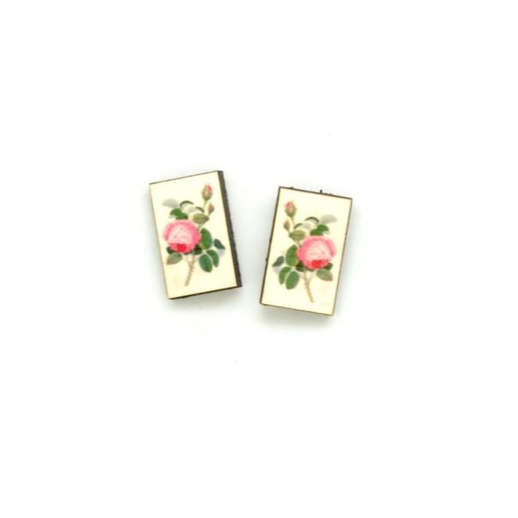 Dunitz & Co Pink Rose Botanical Stud Earrings