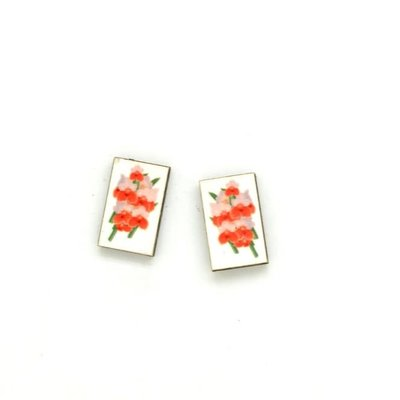 Dunitz & Co Red Orchid  Botanical Stud Earrings