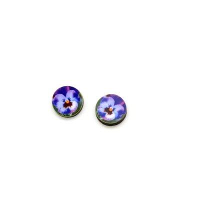 Dunitz & Co Pansy Flower Dot Stud Earrings
